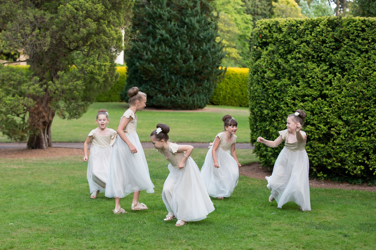 flower girls playing at reed hall
