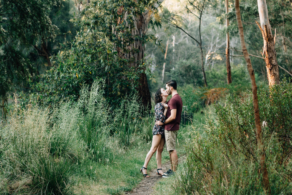 man and woman hugging outdoors engagement and couples photography Melbourne And So I Don't Forget Photographer