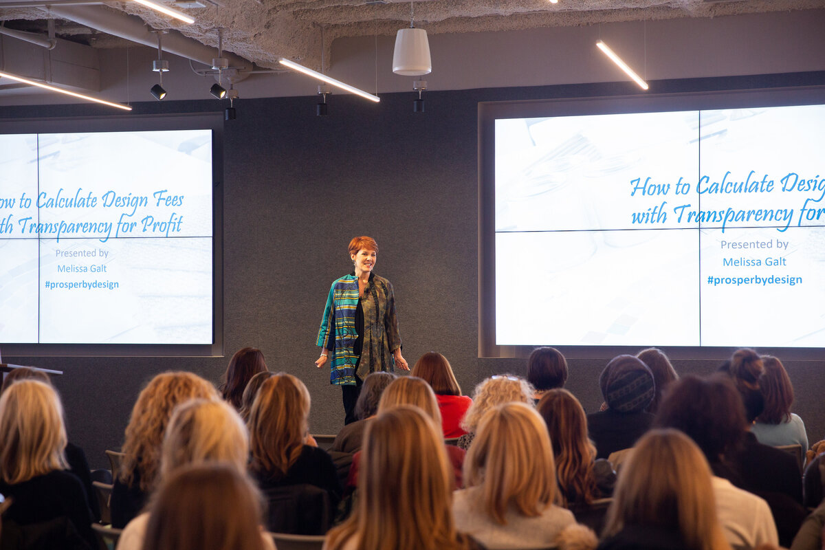 Interior Design Business Coach Melissa Galt speaking to interior designers from a stage