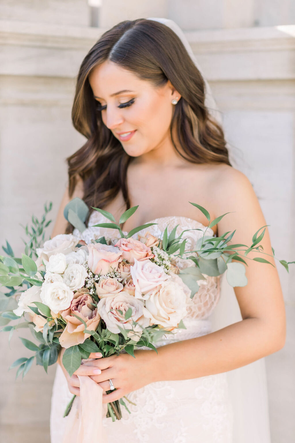 Fine art bridal bouquet photographed by Paige Michelle Photography on wedding day in Bowling Green, KY
