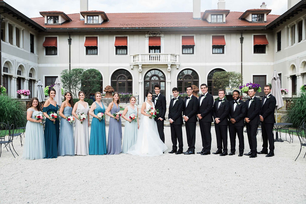 bridal party in back of armour mansion