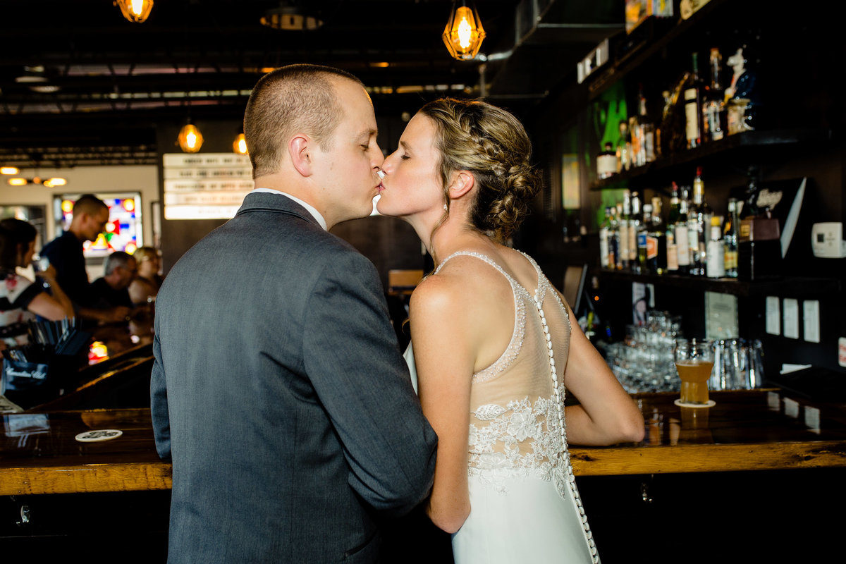 Bride and groom at Quad Cities Bar