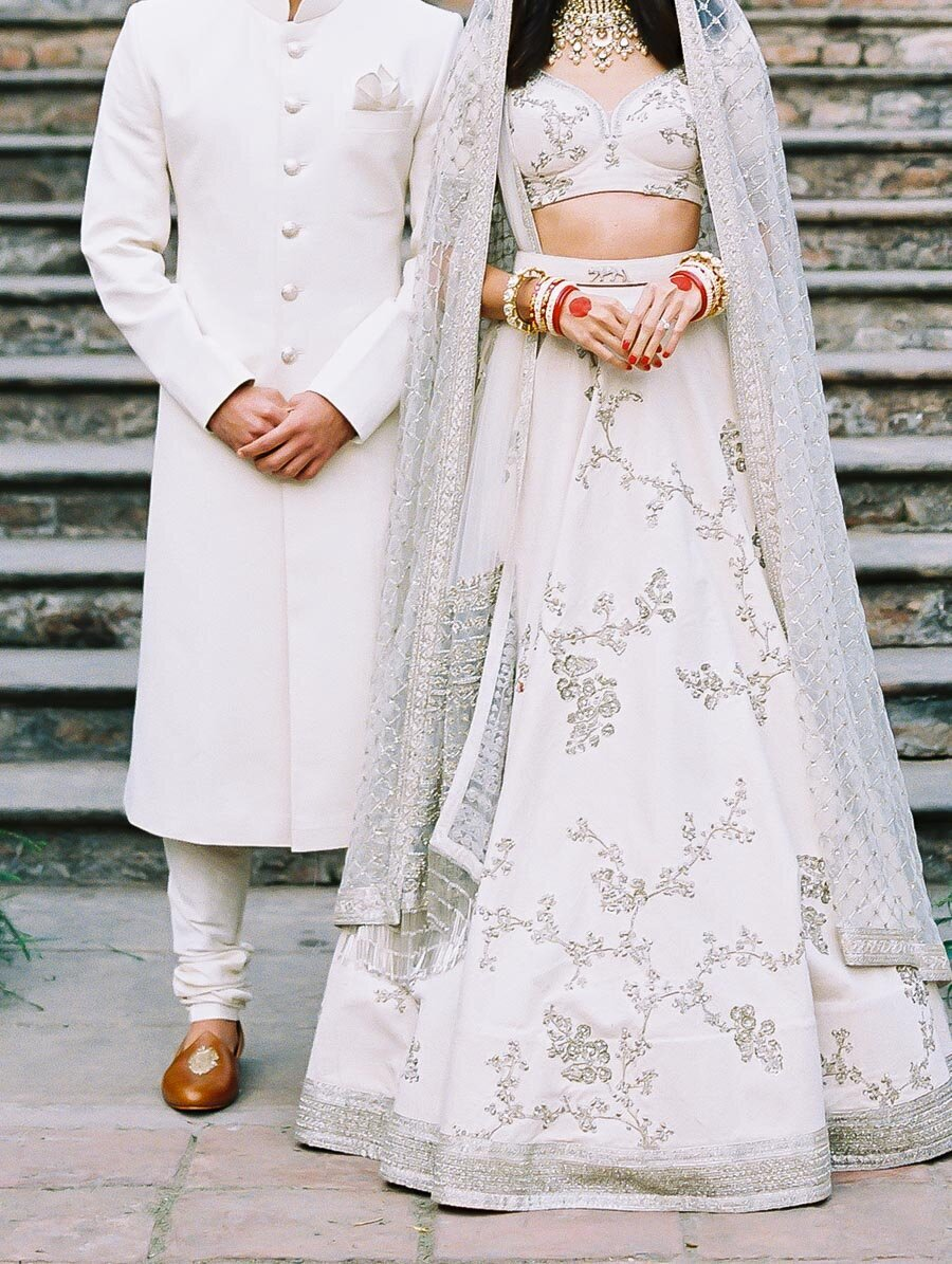 Sabyasachi Modern White Mukut Hindu Wedding Bonnie Sen Photography