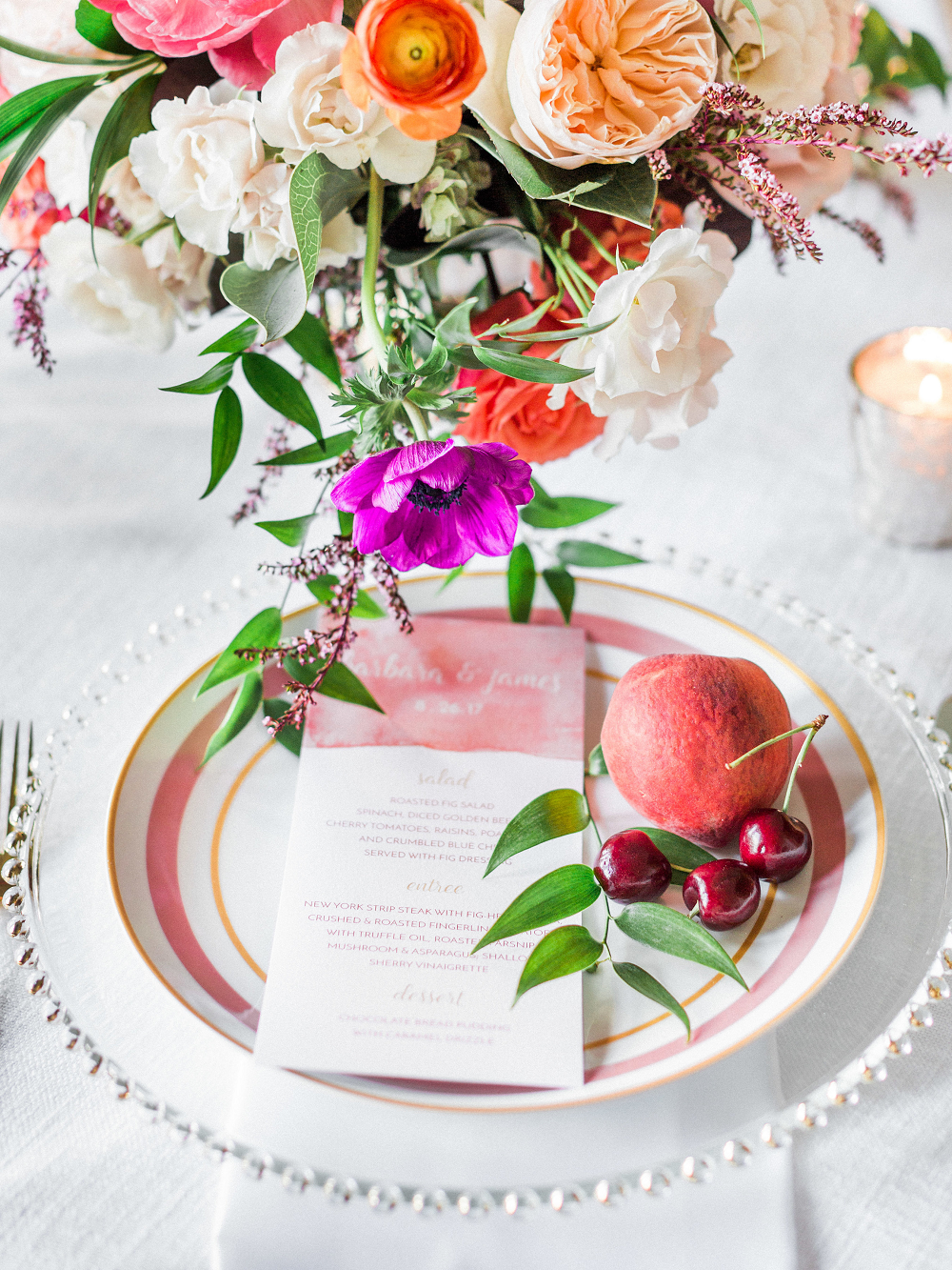 Whimsical Summer Wedding Styled Shoot at Henderson Castle Featured in WeddingDay Magazine Vintage Plates peaches cherries