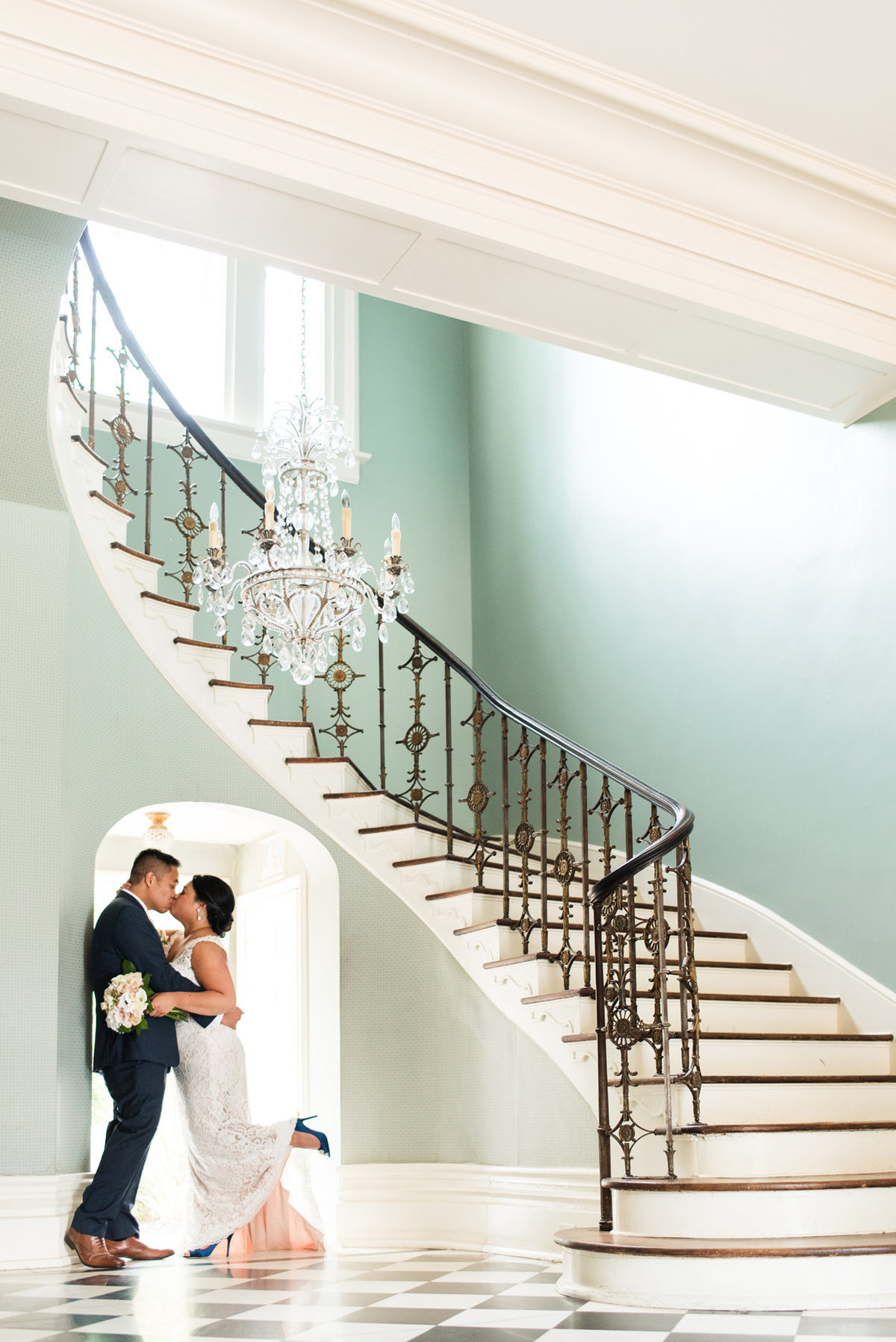 cedar hall entryway wedding photo