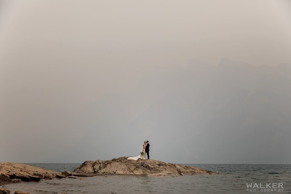 Banff Wedding Photos at Lake Minnewanka with Smokey Skies