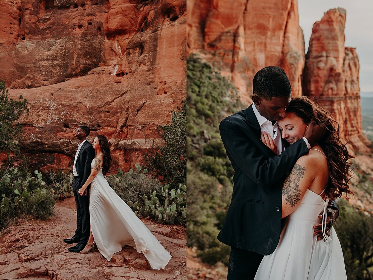bride hugs groom from behind and hold his hand as her dress flows in the wind
