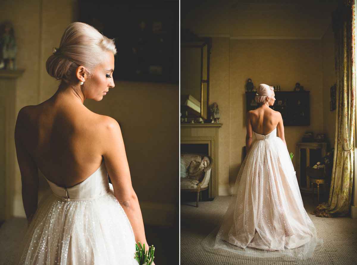 portrait of bride in tulle wedding dress