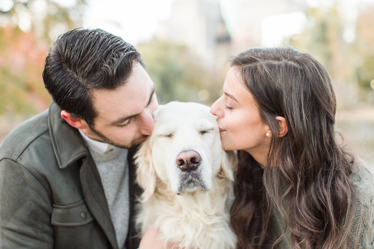 Couple kissing their white cream golden retriever in Boston Public Garden