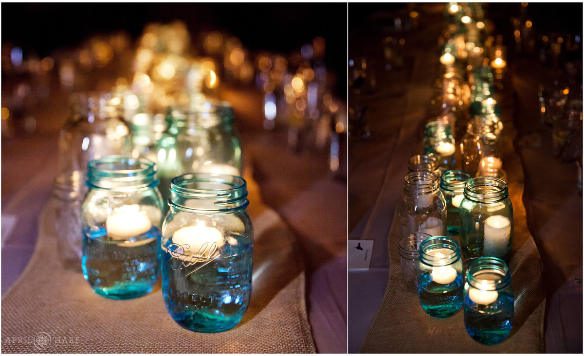 Mason-Jars-with-Candles-at-a-Vail-Colorado-Wedding-Reception