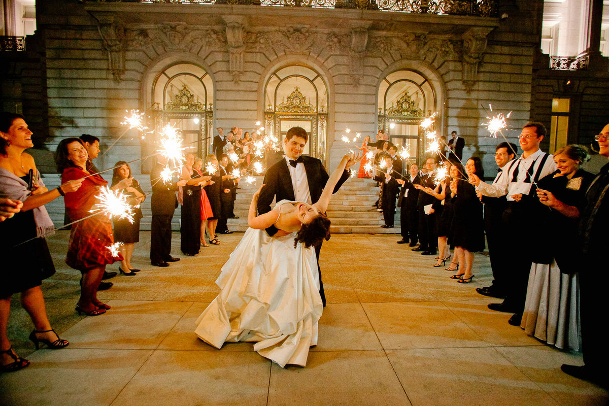 Wedding sparklers at San Francisco City Hall.