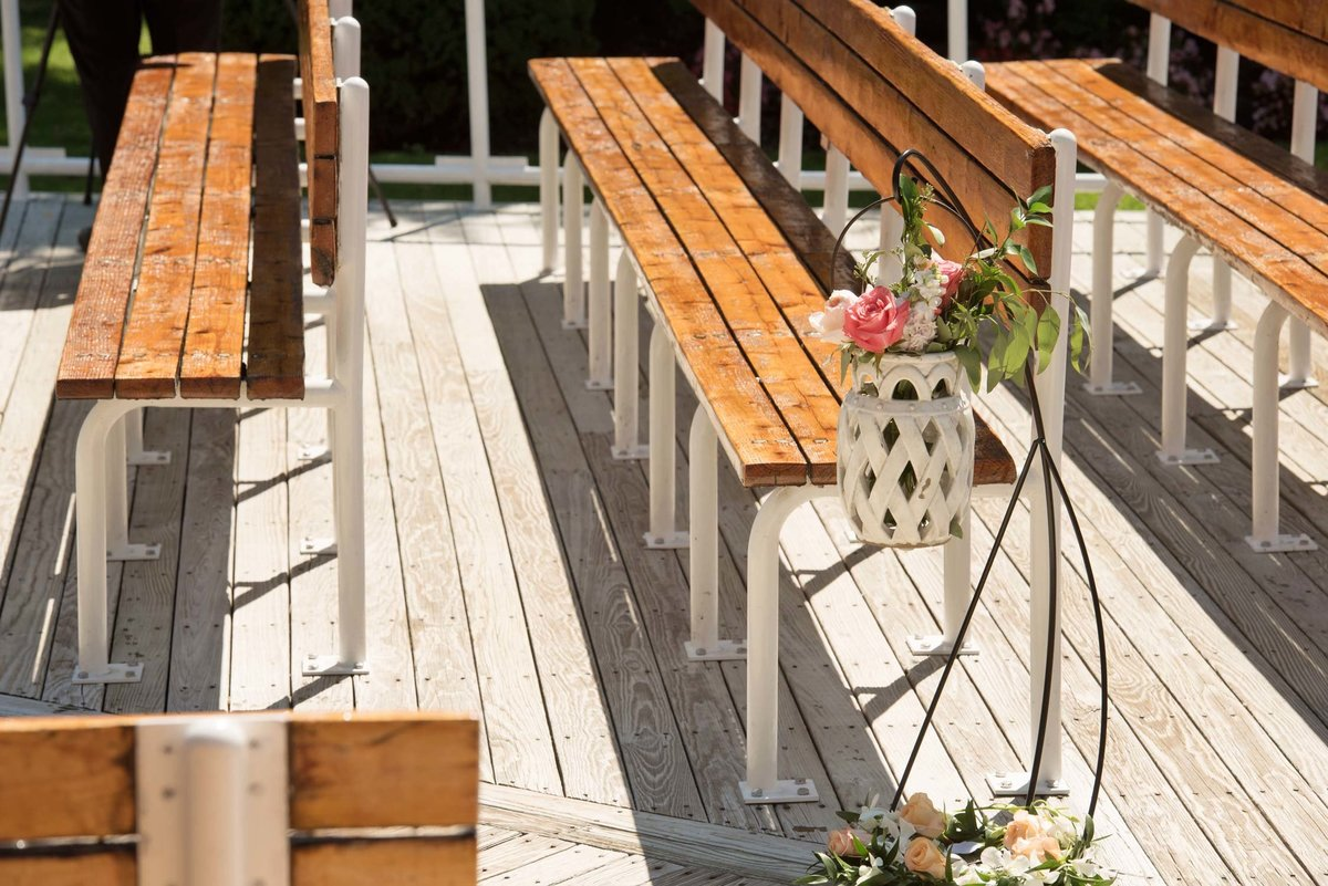 Outdoor reception seating at Flowerfield