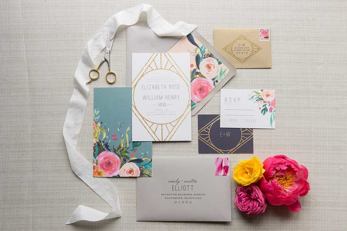 StyledShoot-ArtDecoInvitation-Floral-Watercolor