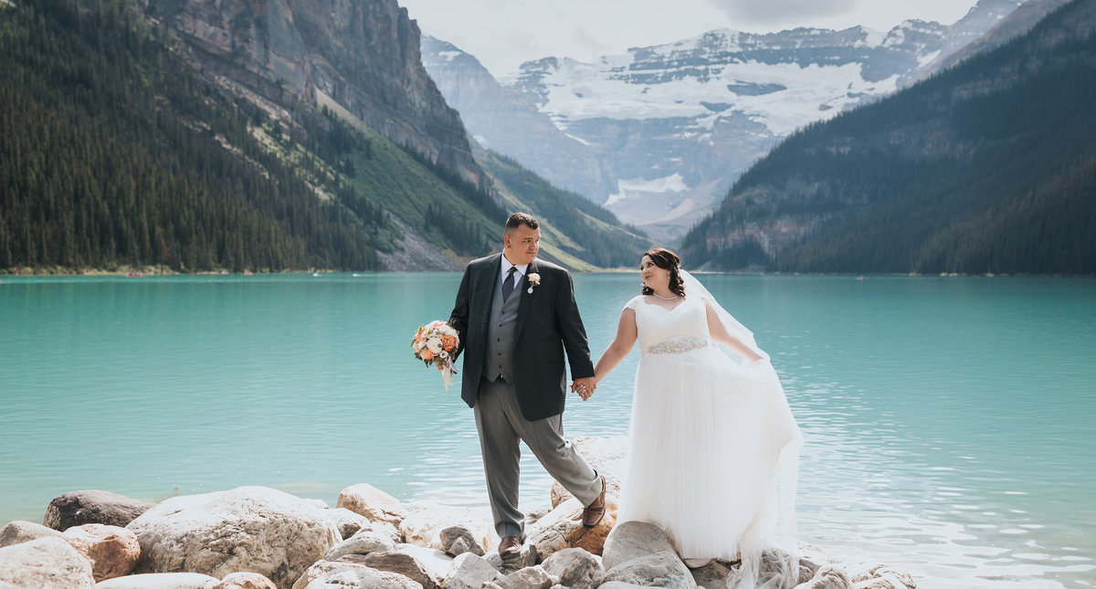 summer lake louise intimate wedding photos