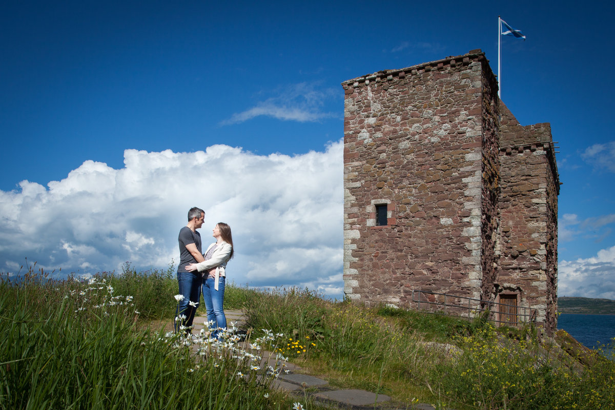 Engagement Portrait at Portencross castle