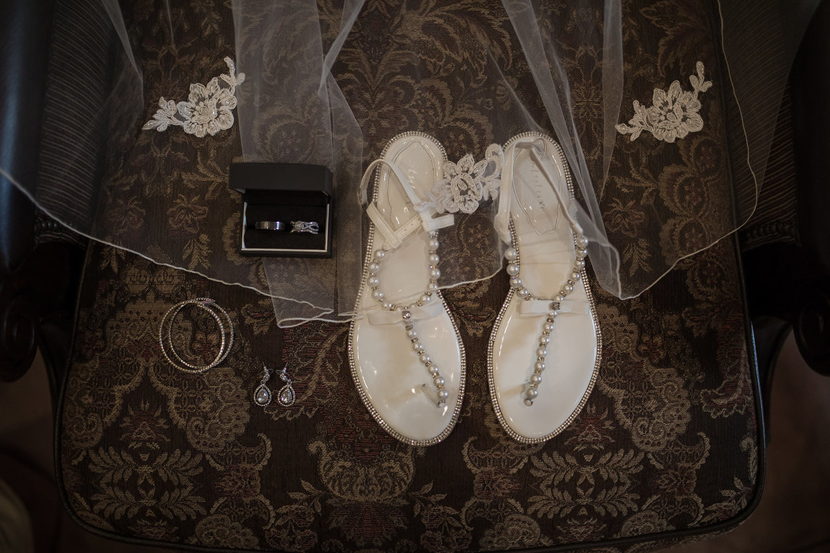 details with veil shoes and jewelry