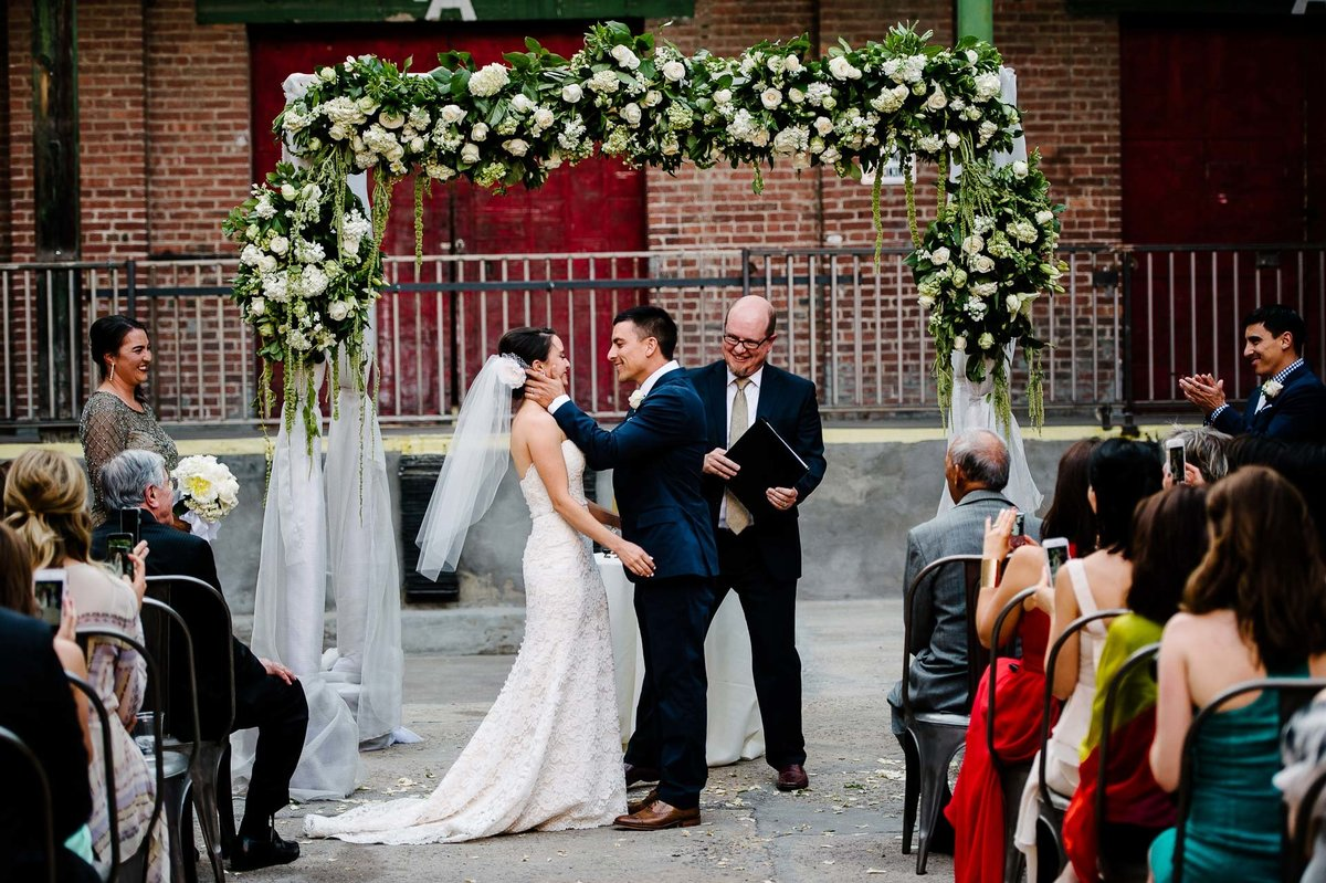 wedding ceremony at epic railyard