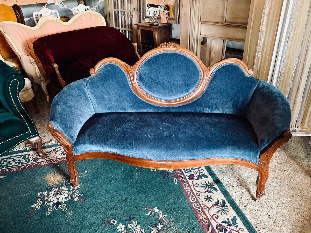 blue antique loveseat