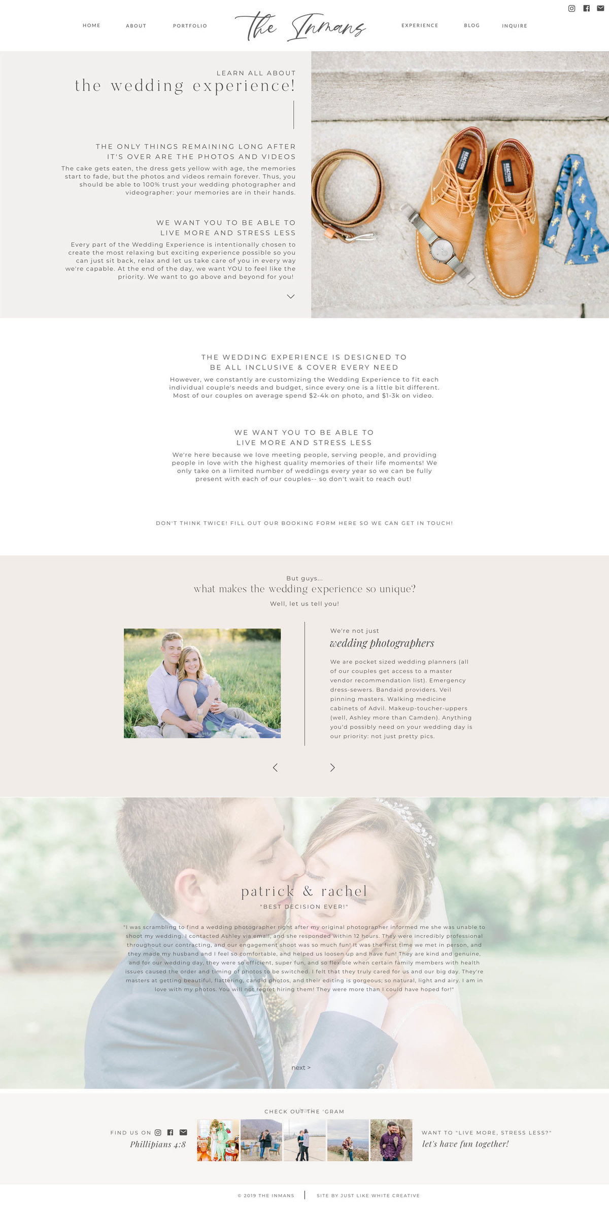 Photography website design by Tribble Design Co.