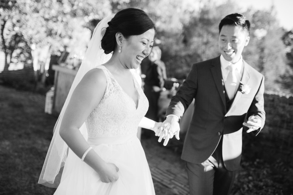 Bride and groom's first dance during korean american wedding