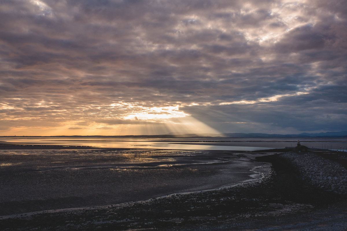 a glorious sunset at morecambe bay beach