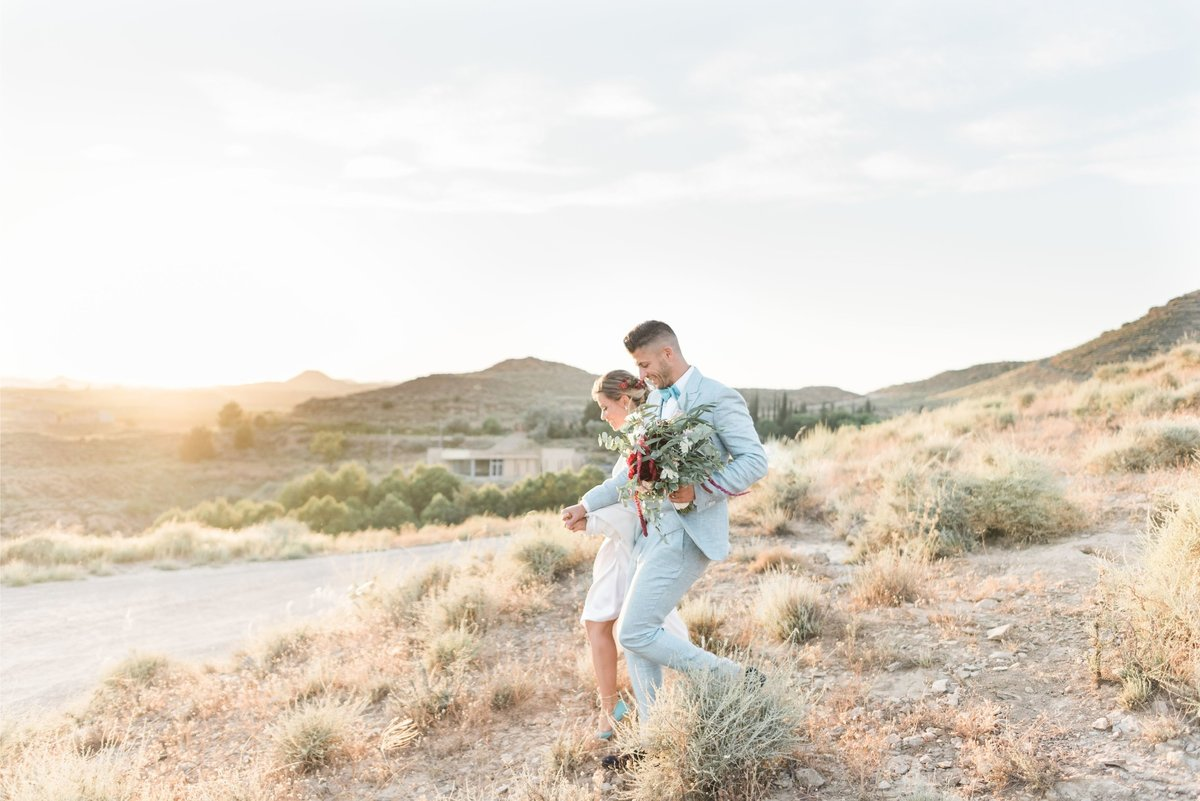 Newlyweds desert wedding photography