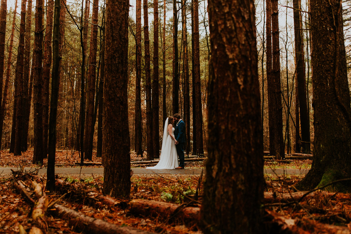 "A bride and groom share a first look at ""the spot"" in Oak Openings Metropark"