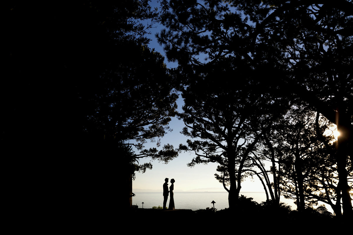 silhouette couple portrait pacific ocean wayfarers chapel wedding