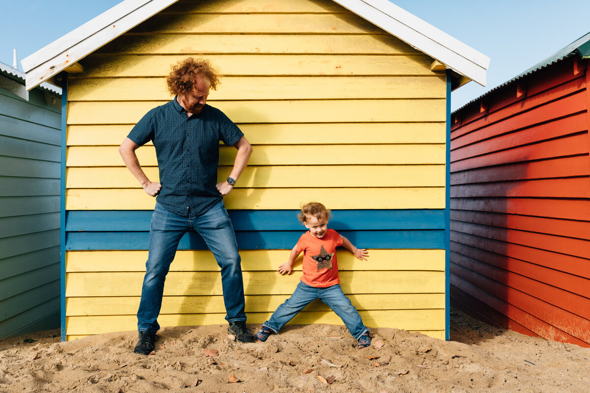 father and son superman pose beach outdoor Melbourne family photography And So I Don't Forget Photography
