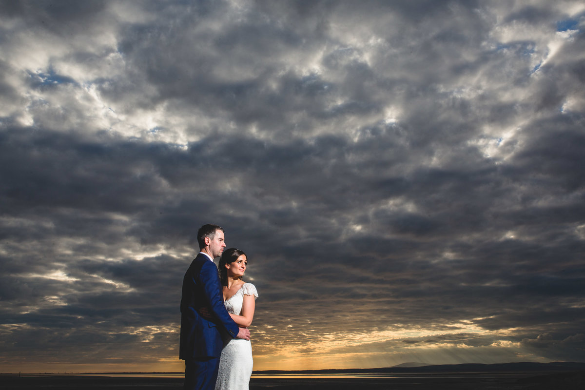 sunset at beach wedding