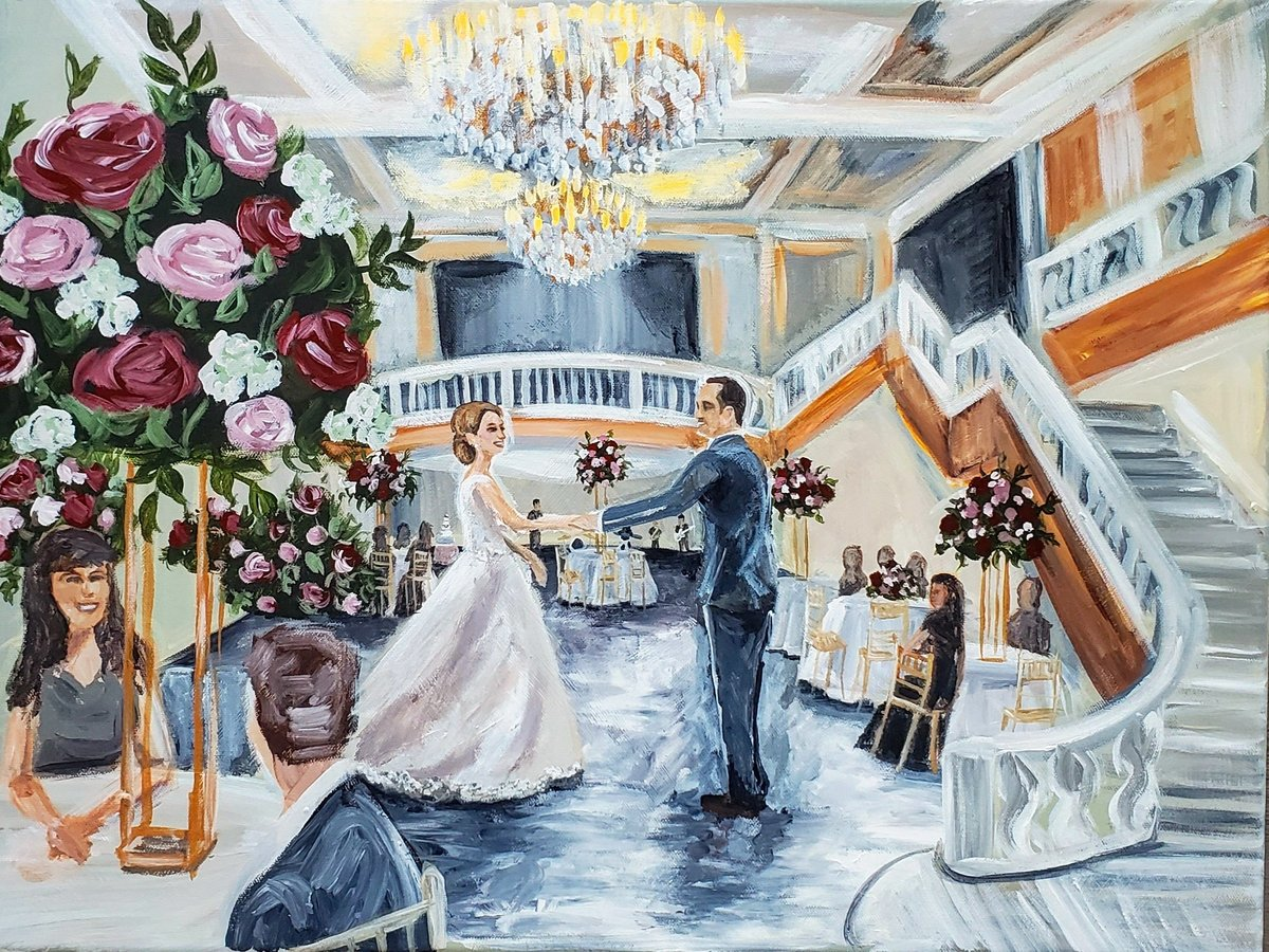 Live wedding painting of a bride and groom sharing their first dance at the National Museum of Women in the Arts ballroom in Washington DC