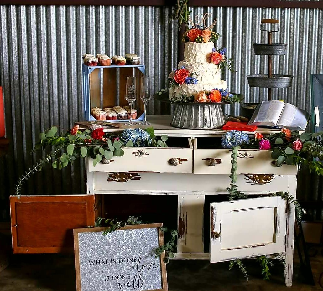 Antique white buffet