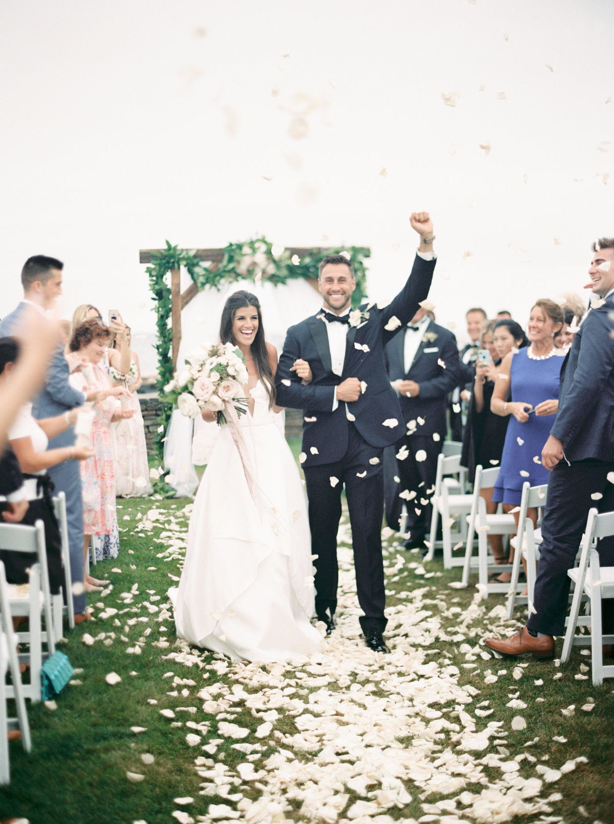 Rose petal recessional at Wychmere Beach Club