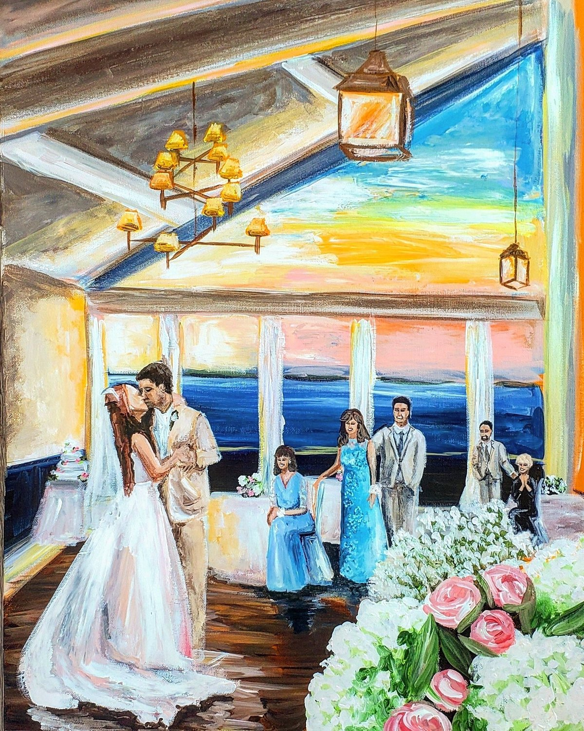 Live painting of a bride and groom sharing their first dance at the Ocean City Yacht Club in Ocean City New Jersey