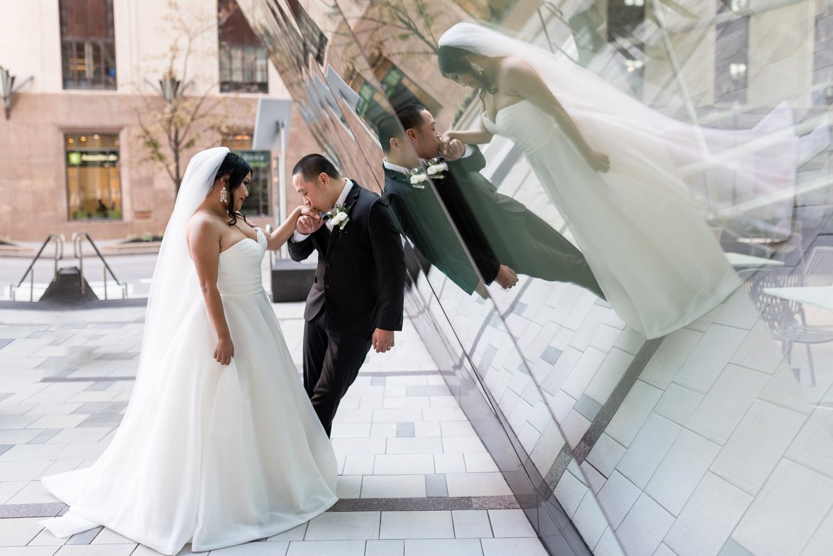 bride and groom reflection photo