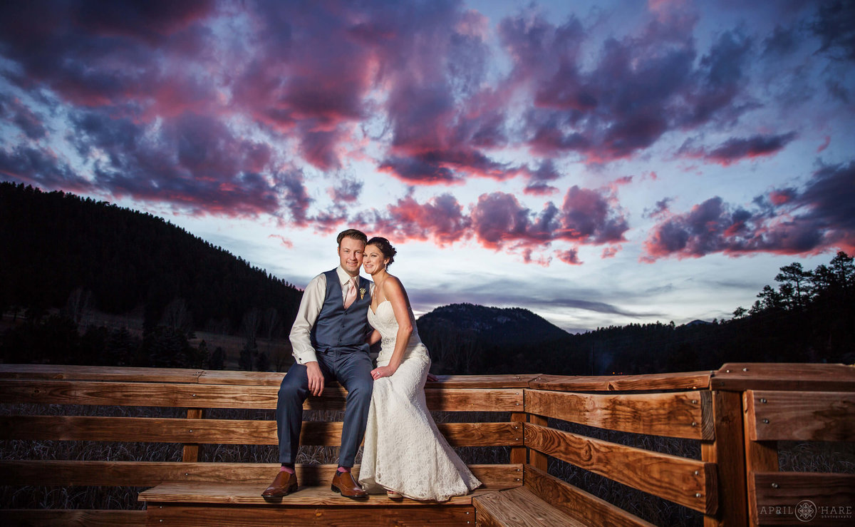 Denver Wedding Photographer at Evergreen Lake House Boardwalk at Sunset Wedding Portrait