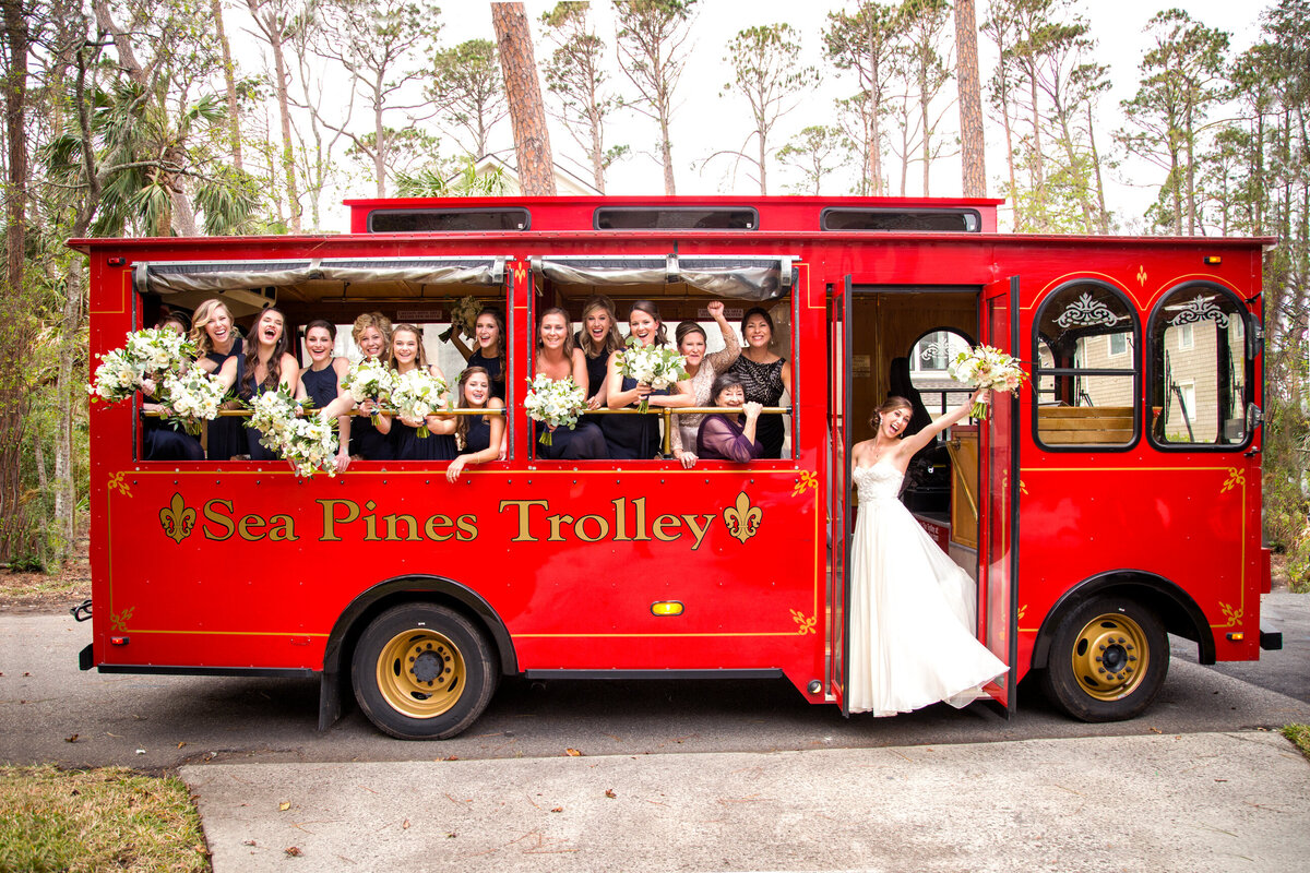 bridal party on a trolly