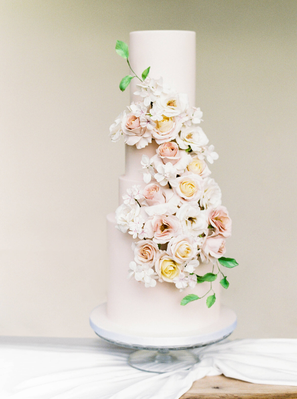 3 tier blush summer floral wedding cake  | MonAnnie