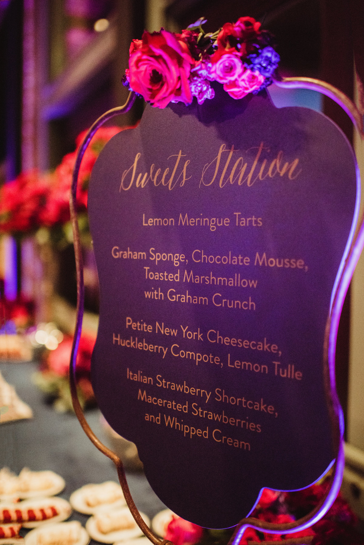 food station, reception decor