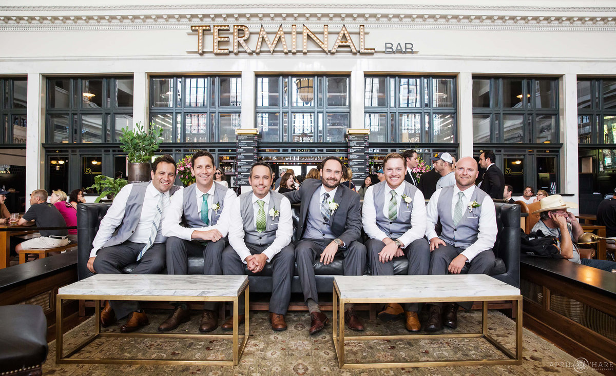 Denver Wedding Photographer Union Station Terminal Bar Groom Photo