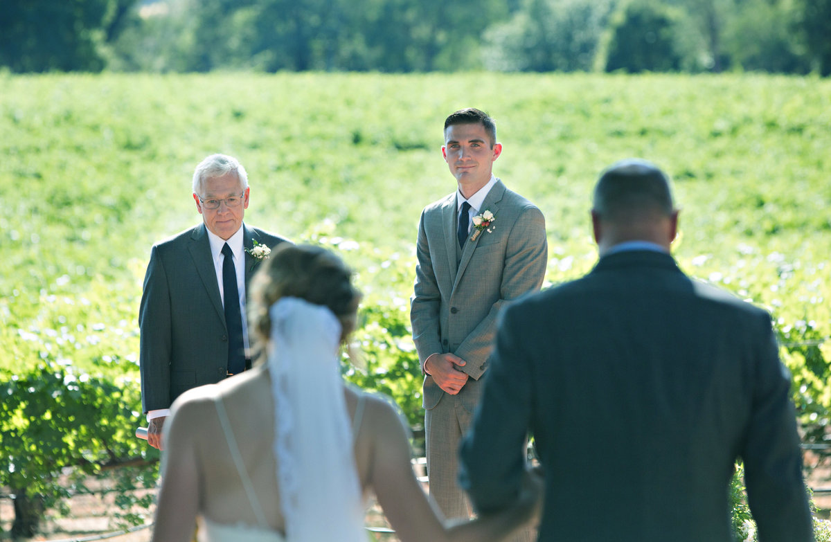 grooms first look, bride and dad walking down aisle