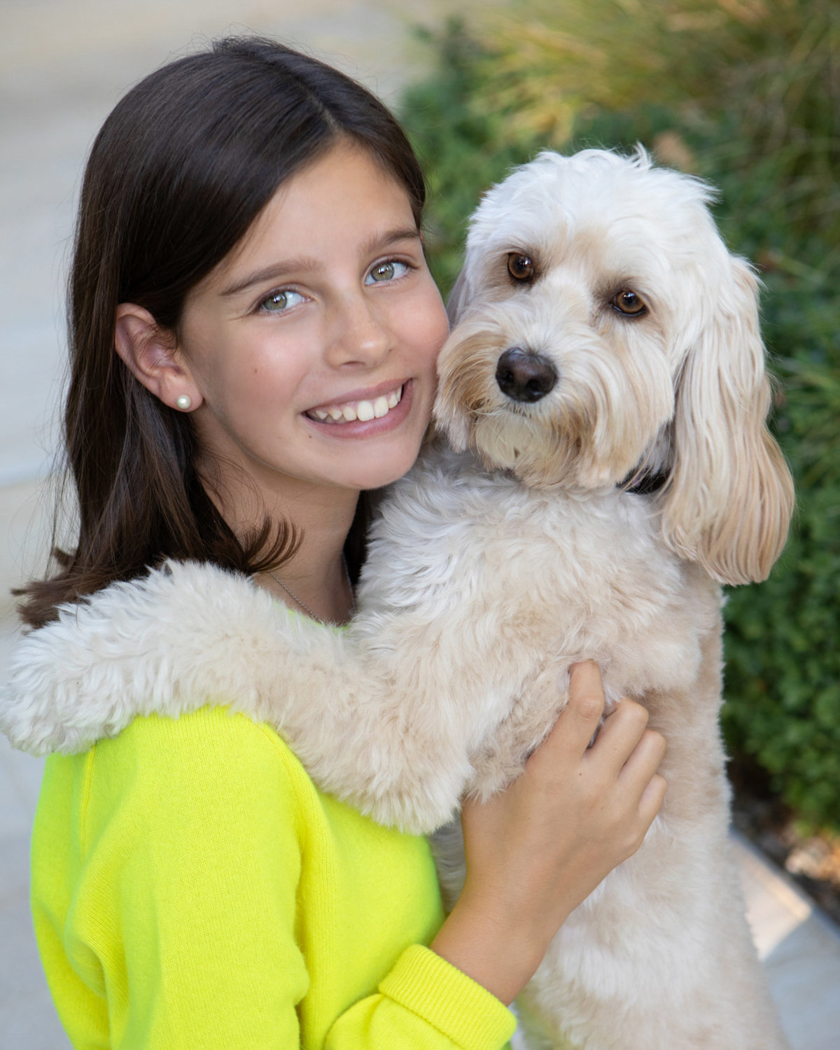 Outdoor photo session, teenager with dog
