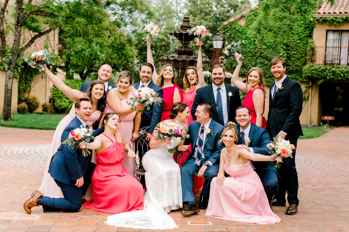 Bride and groom with bridal party at Vintners Inn in Santa Rosa California