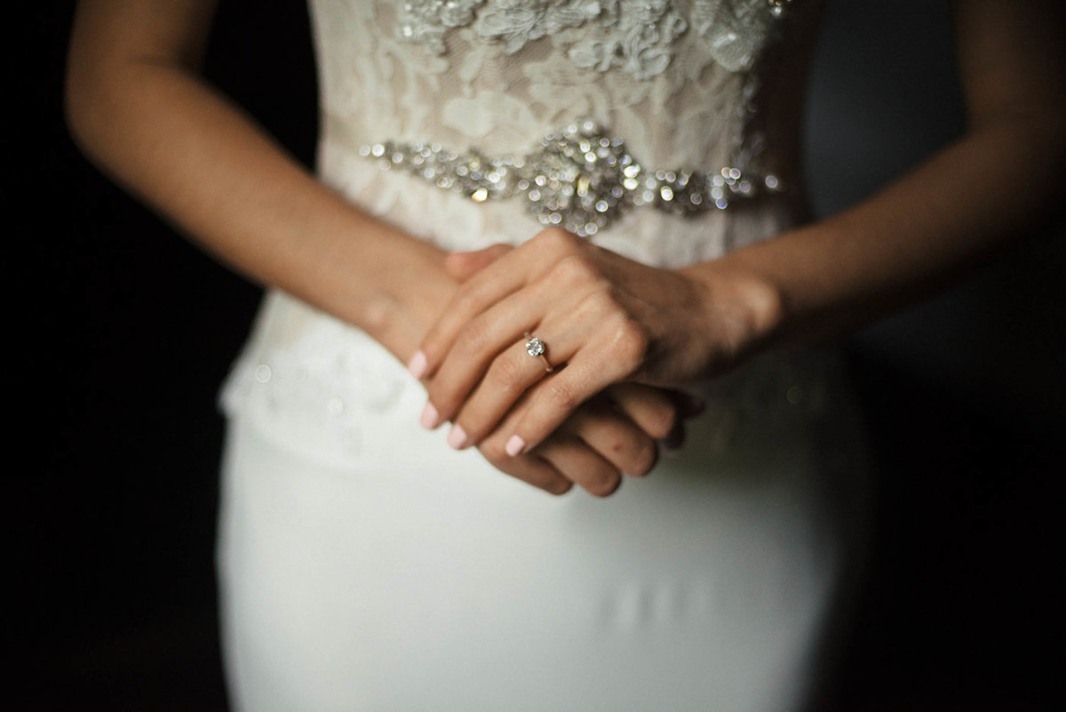 ring on bride's hand