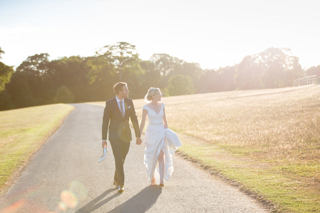 Evening sunlit walk for Bride and Groom at Bridwell Wedding in Devon