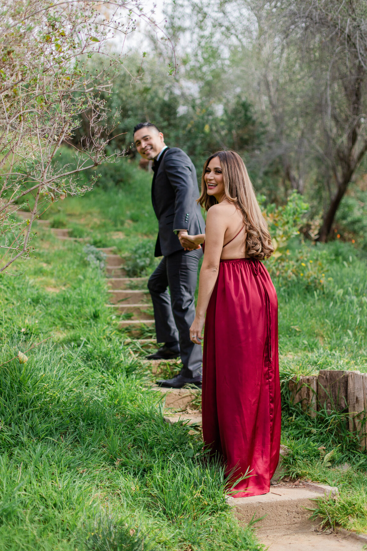 UC Riverside Botanical Gardens, Engagement Photography, Riverside Phototgrapher, Garden Engagement, Couple Photography, Red Dress-12