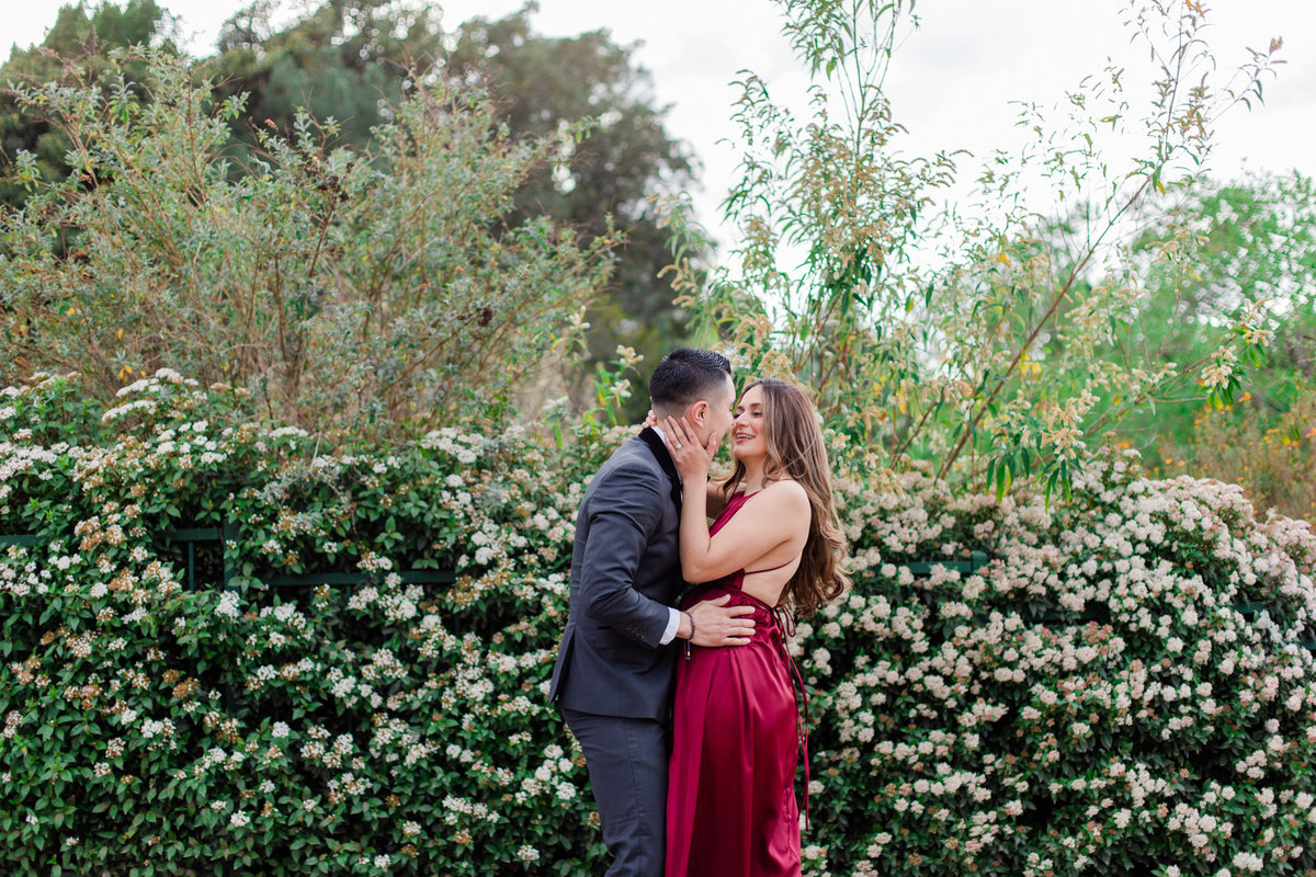 UC Riverside Botanical Gardens, Engagement Photography, Riverside Phototgrapher, Garden Engagement, Couple Photography, Red Dress-67