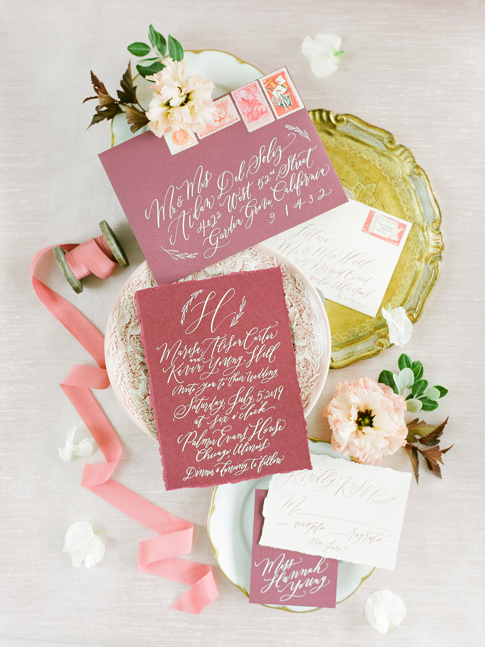 Burgundy and Blush Wedding Inspiration Styled Shoot Stationery