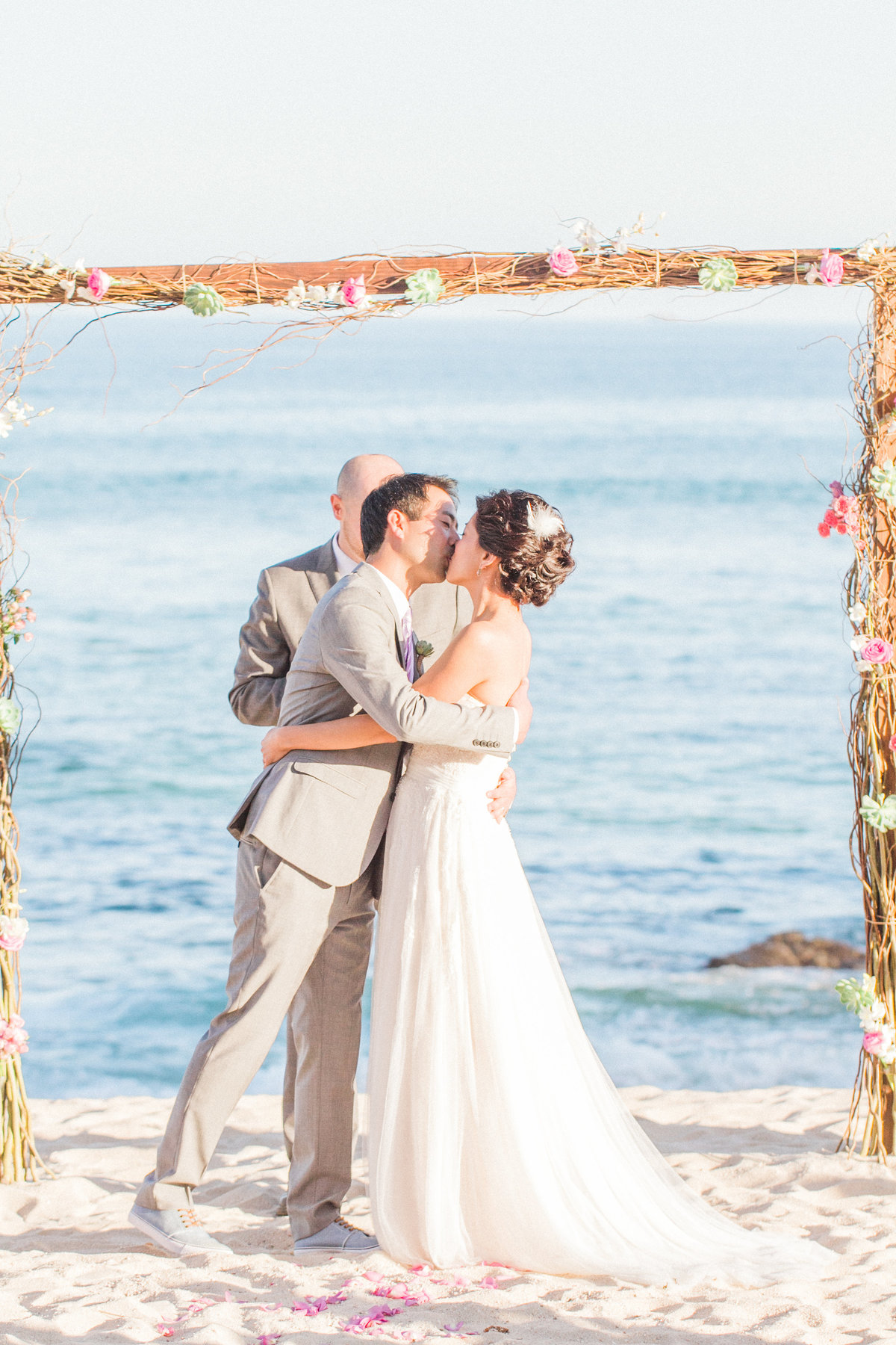 Beach Wedding First Kiss