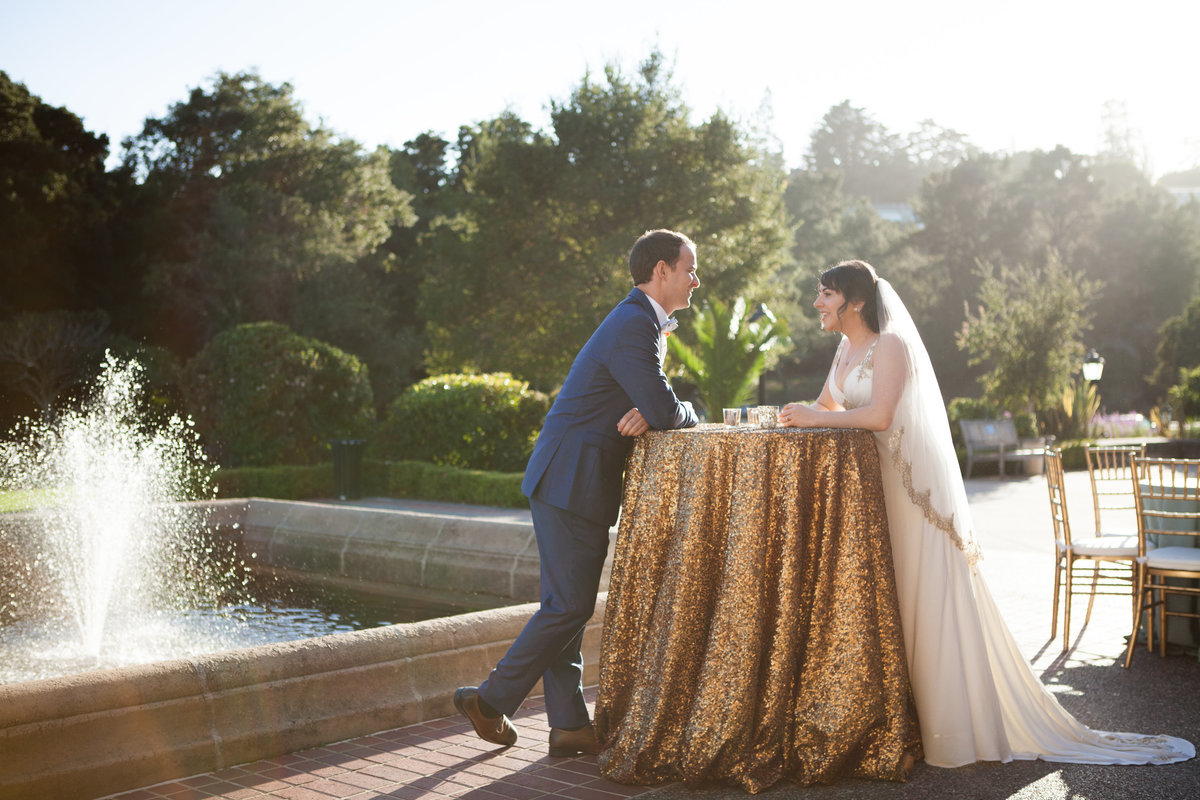 Sophisticated gold and sparkly wedding cocktail hour